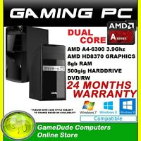 Amd Dual Core A4 6300 3.9ghz Gaming Computer 8gb Ram 500g Hdd Radeon Hd8370d A68