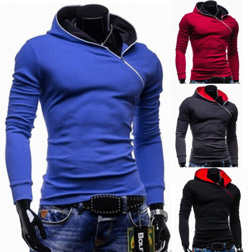 New Fashion Mens Casual Hooded Hoodies College Sports Sweatshirts Jacket Coat