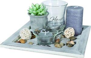 Geschenk-Set-Home-I-Deko-Holzteller-Kerzen-Windlicht-Dekoration-Shabby-Vintage