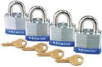 (4) Master Lock 3008d 4 Pack 1-1/2 Laminated Padlocks