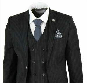 Mens-3-Pieces-Suits-1920s-Pinstripe-For-Wedding-Business-Formal-Tailored-Fit-New