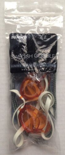 1 SPORTI SWEDISH GOGGLE GOGGLES with BUNGEE HEADSTRAP, ORANGE CITRUS LENS, NEW