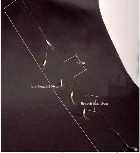 Sabiki 5 Shrimp Rigs Glow in the dark Baits Fishing Lures Catch Hooks Sea Bass
