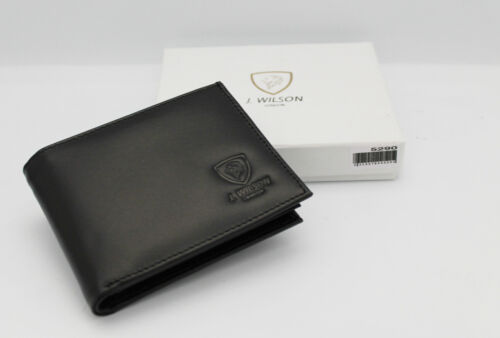 Designer J Wilson Real Genuine Mens High Quality Leather Wallet Card Id Gift Box