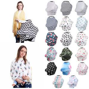 Multifunctional-Nursing-Baby-Car-Cover-Geometric-Floral-Printing-Swaddle-Blanket