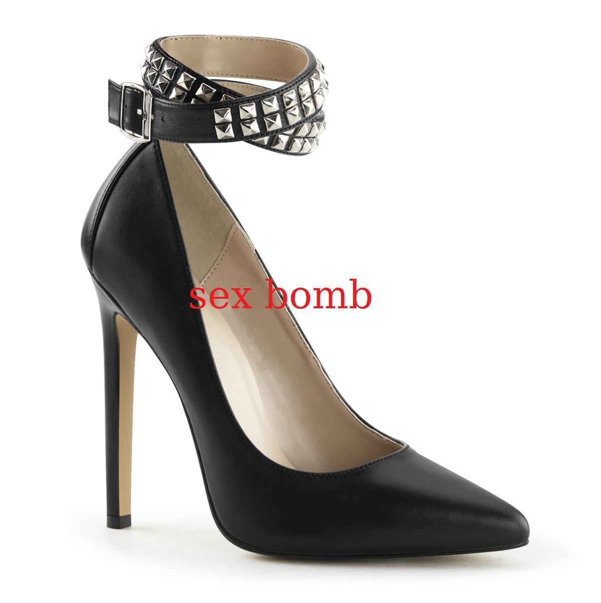 SEXY scarpe NERO DECOLTE' PELLE tacco 13 NERO scarpe dal 35 al 44