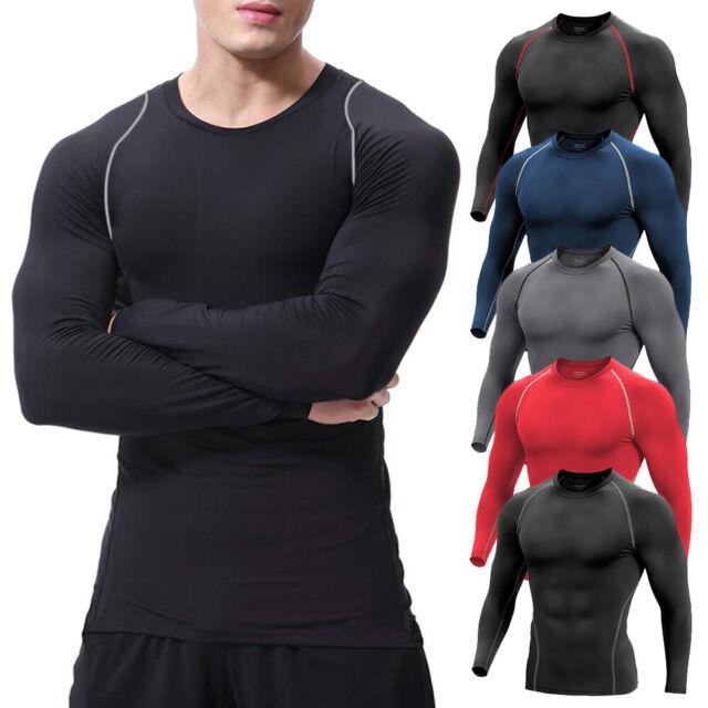 Mens Compression Base Layer Thermal Skin Fitness T-Shirt Top Shorts Long Pants