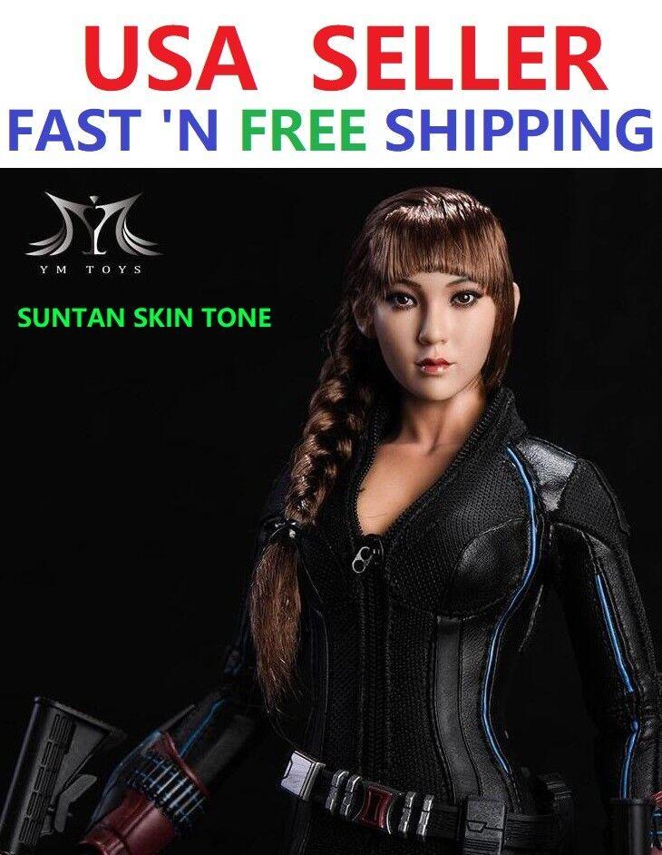 1 6 Asian Female Head Sculpt Braided Hair For SUNTAN PHICEN Hot Toys Figure