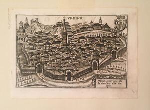 Original 17th Century Urbino Italy Perspective Map Theatrum Urbium
