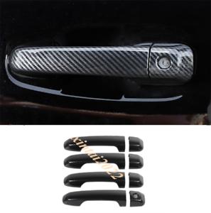Car Exterior Door Handle Cover Trim for 2017-2020 Toyota 4Runner Carbon Fiber Pattern