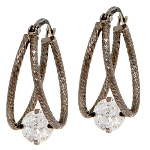 e08becea5 QVC Diamonique Sterling Silver 100- FACET Split Hoop Earrings for ...