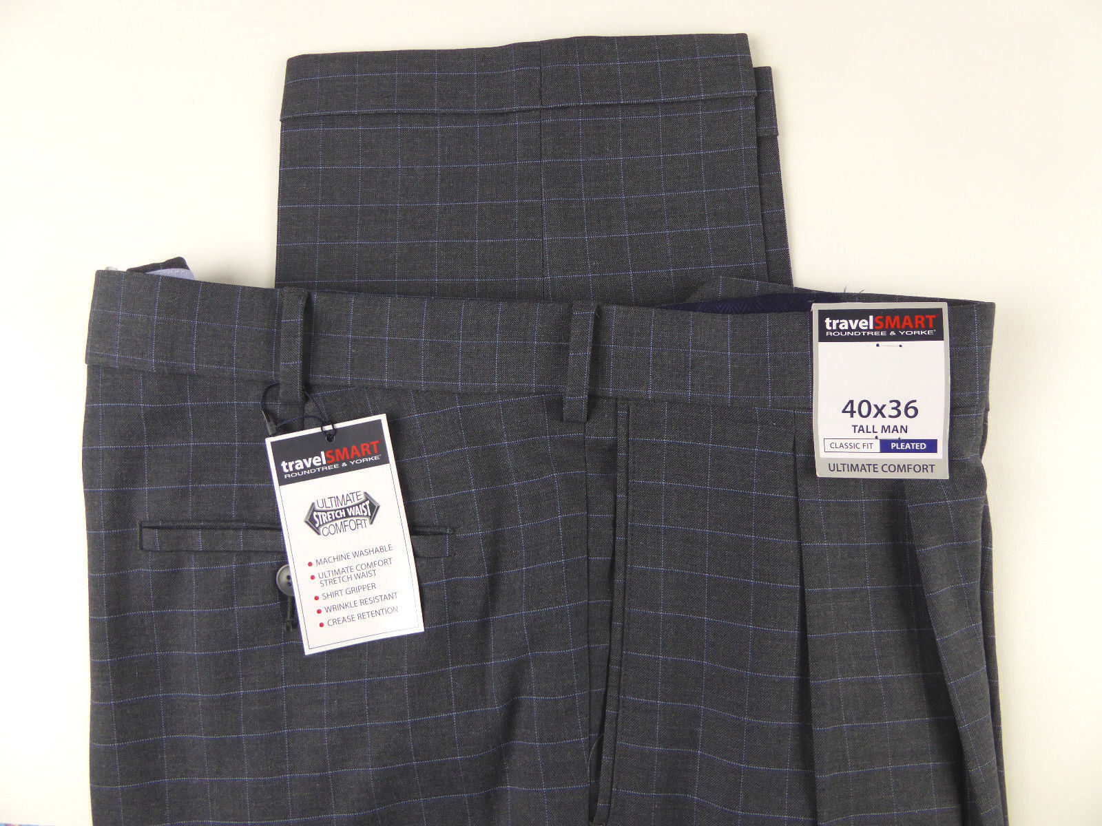 Roundtree & Yorke Travel Smart Ultimate Comfort Stretch Plaid Dress Pants 79 NWT