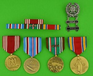 Army-WWII-European-Theater-full-size-Medals-amp-Ribbons-Expert-RIFLE-amp-PISTOL