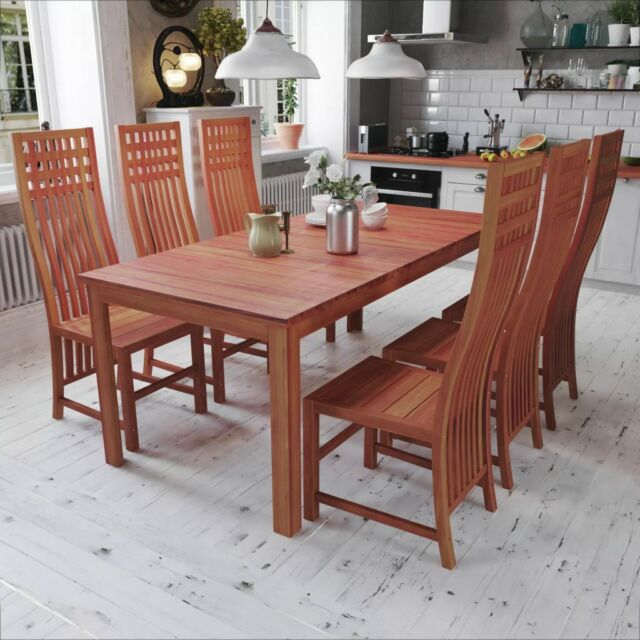 Vidaxl Solid Teak Dining Set 7 Piece Indoor Kitchen Furniture Table Chairs