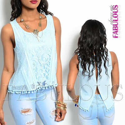 Sexy Womens Lace Crochet Pastel Top Size 8 10 12 Hot Summer Shirt Blouse S M L