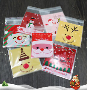 100 Christmas Cellophane Treat Bags Sweet Biscuit Cookie ...