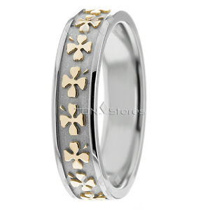 WOMENS 10K SOLID GOLD CELTIC CLOVER WEDDING BANDS RINGS TWO TONE