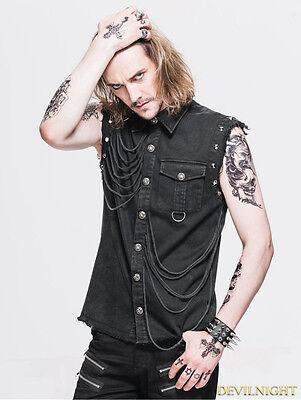 Devil Fashion Mens Gothic Tops Vest Waistcoat Black Steampunk Aristocrat
