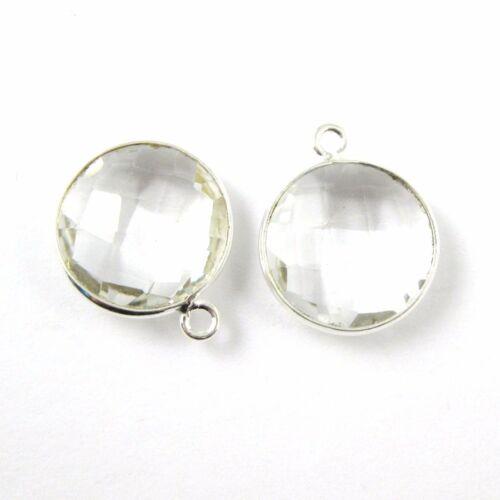 Bezel Sterling Silver Gemstone Round Charm Pendant Birthstone Charm 2 Pcs