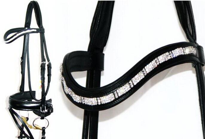 FSS Curve SHAPE Crystal 3row CLEAR RIPPLE WAVE Bling  German Comfort Crank Bridle  best fashion