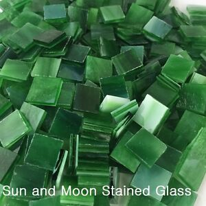 "500 1/2"" Forest Green Stained Glass Mosaic Tiles"
