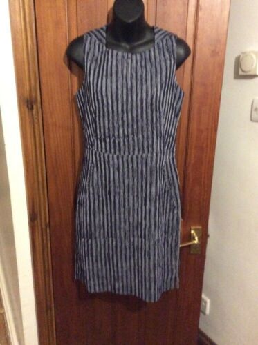 Petite Navy Next 12 Shift Ribbed White Dress Rrp Texture Bnwt SaTxgqwRx