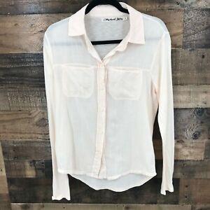 Michael-Stars-Women-039-s-Pink-Modal-Supima-Blend-Long-Sleeve-Dress-Shirt-Size-0