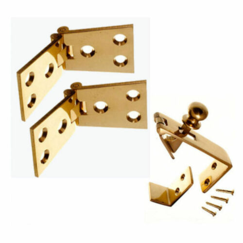 """Pair 4/"""" Bar Hinges Pack SET CHROME Counter Flap Catch /& Stay SATIN or BRASS"""