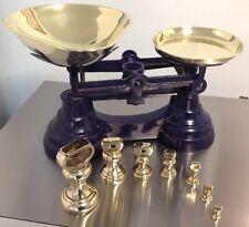 LOVELY BLUE / PURPLE Cast Iron Vintage LIBRA? Kitchen Scales +7 BRASS weights