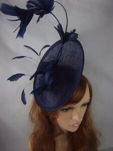 Image is loading Navy-Blue-Statement-Curve-Saucer-Fascinator-With-Feather- 4f8d9671163