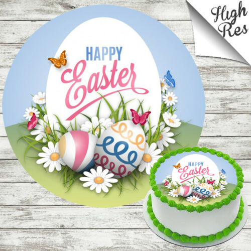 EASTER EGG EDIBLE ROUND SEASONAL CAKE TOPPER DECORATION