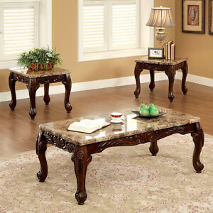 table set 3 piece accent coffee end tables marble top carved dark wood side sofa. Black Bedroom Furniture Sets. Home Design Ideas