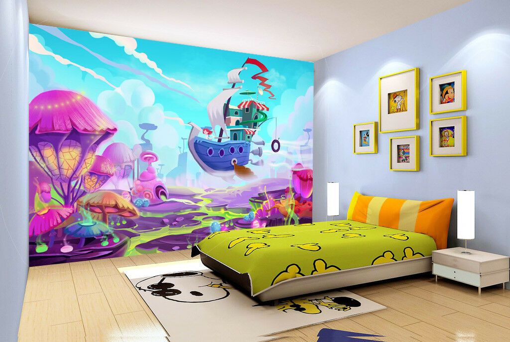 3D Mushroom Sailboat 7 Wall Paper Murals Wall Print Wall Wallpaper Mural AU Kyra