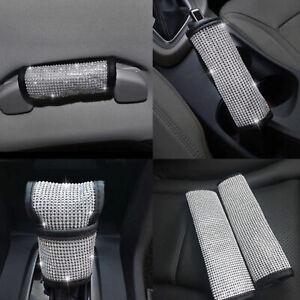 4-un-Set-Bling-cristal-coche-cubiertas-de-cinturon-de-seguridad-cubierta-de-polvo-de-freno-de-mano