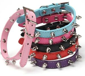 Studded-Small-Spiked-Rivet-Dog-Pet-Leather-Collar-Pink-Red-Black-Purple-Small-XS