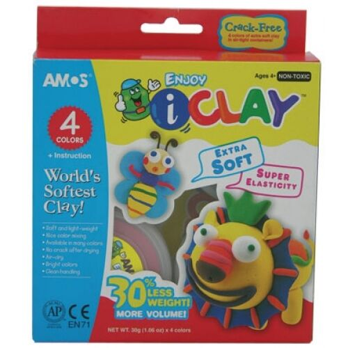 "NEW IN BOX AMOS ICLAY 4 Colour Pack - Craft Kit - Air Dry Modelling ""Clay"" Clay"