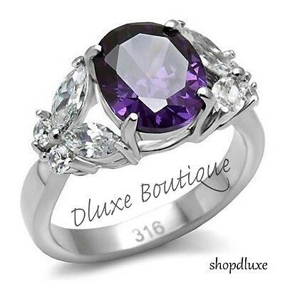 Women's Oval Cut Butterfly Stainless Steel Amethyst & AAA CZ Ring Band Size 5-10
