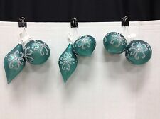 Frontgate Christmas Teal Silver Glitter Matte Ornaments Jewel Tone Glass Set 6