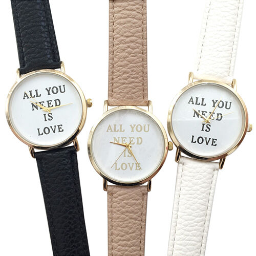 Womens Girls Catchy Popular ALL YOU NEED IS LOVE Faux Leather Quartz Wrist Watch