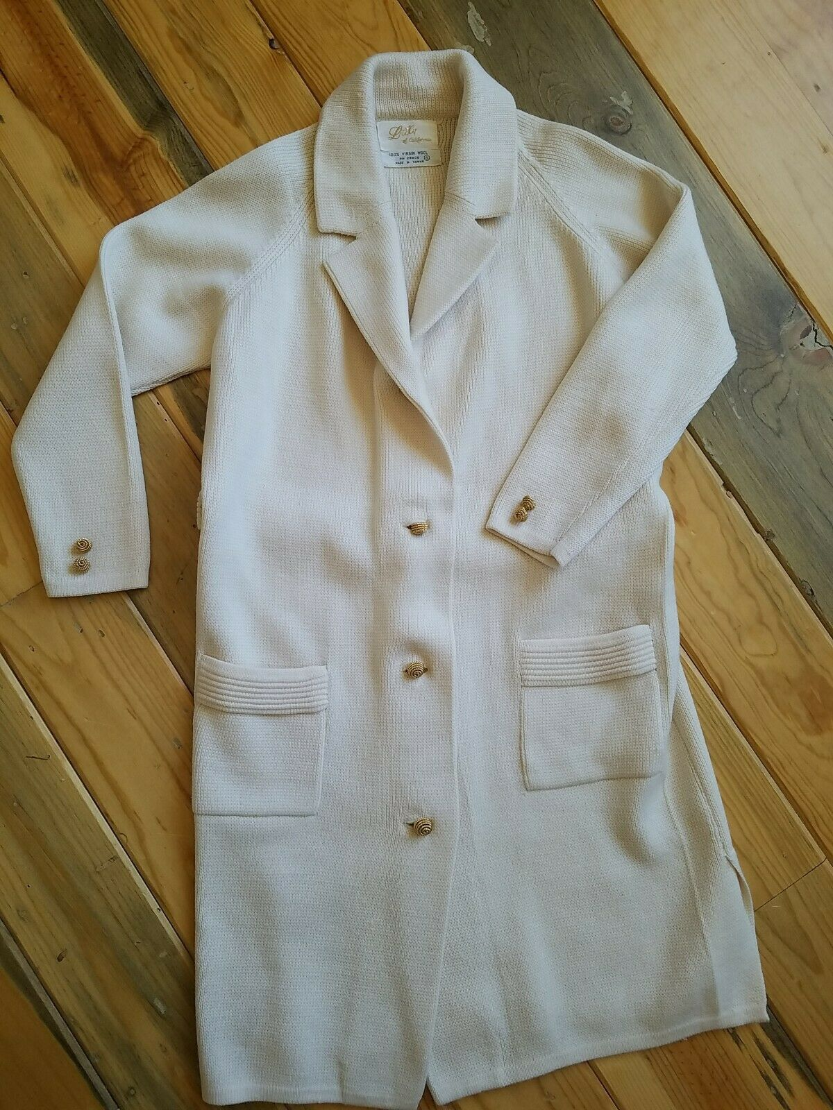 Lilly 50's 60's True Vintage 100% Virgin Wool Off-white Long Cardigan Jacket S