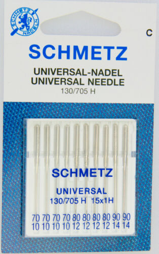 Schmetz Universel aiguille 130//705h épaisseur 70-90 machines à coudre aiguille coudre 10//Pack