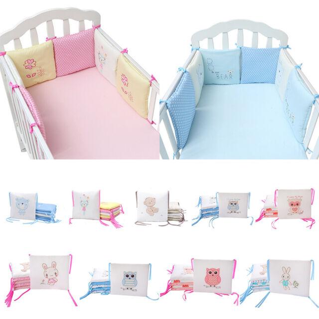 6Pcs Popular Baby Crib Bumper Protective Infant Toddler Nursery Bedding Cot Pad