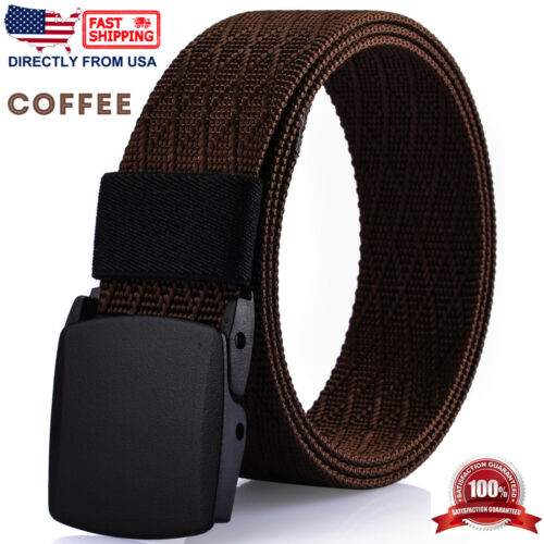 Nylon Webbed Belt Plastic Buckle Men/'s Casual Dress Belt No Metal Parts