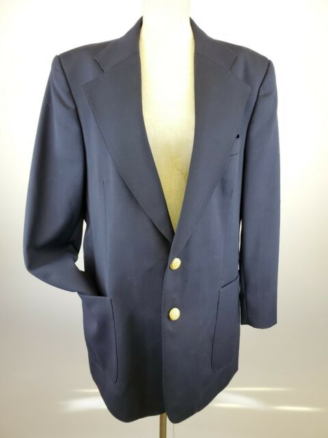 Vintage Europe Craft Men's Navy Blue Blazer Size 44 L with Gold Buttons