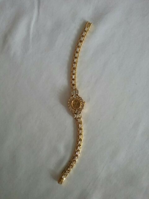 Corsage Quartz Watch Gold-tone Band w Clear Crystals Ships To Canada