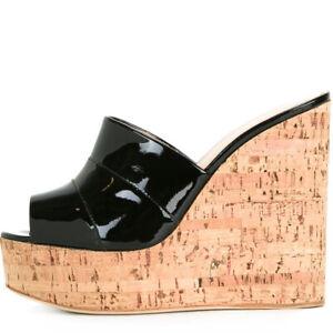 988d6e4a94d Women Cork Wedge Sky High Platform Slide Sandals High Heel Mules ...