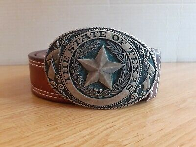*nh* Tony Lama - Cinta Fibbia - Old Vintage The State Of Texas - 100cm Paninaro Giada Bianca