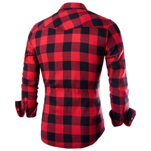 Men/'s Long Sleeve Casual Check Print Smart Cotton Work  Plaid Shirt Top