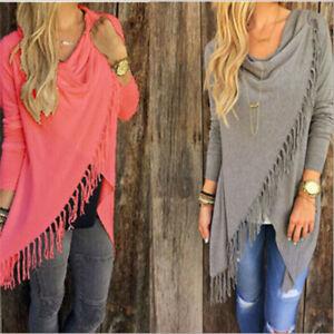 Women-Irregular-Tassel-Knitted-Cardigan-Sweater-Poncho-Shawl-Coat-Jackets-Tops