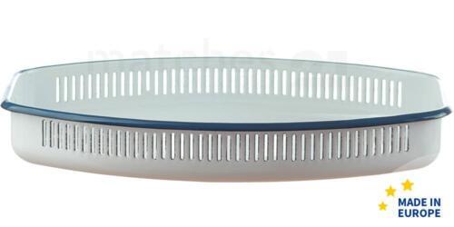 Brotschale weiß Retro Emaille Geschirr 30x18x5 cm Email Brotkorb